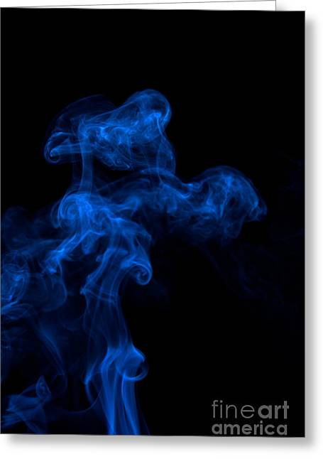 Abstract Vertical Paris Blue Mood Colored Smoke Art 03 Greeting Card by Alexandra K