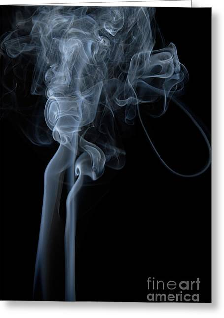 Abstract Vertical White Mood Colored Smoke Wall Art 02 Greeting Card by Alexandra K