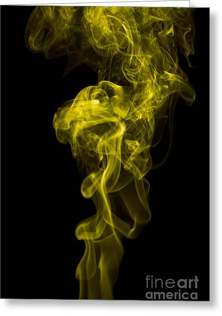 Angels Smoking Greeting Cards - Mood Colored Abstract Vertical Yellow Smoke Wall Art 01 Greeting Card by Alexandra K