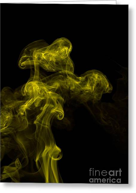 Angels Smoking Greeting Cards - Abstract Vertical Yellow Mood Colored Smoke Wall Art 02 Greeting Card by Alexandra K