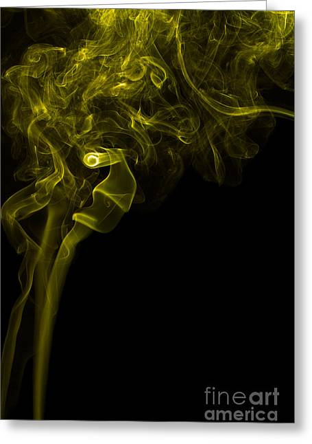 Angels Smoking Greeting Cards - Mood Colored Abstract Vertical Yellow Smoke Wall Art 03 Greeting Card by Alexandra K