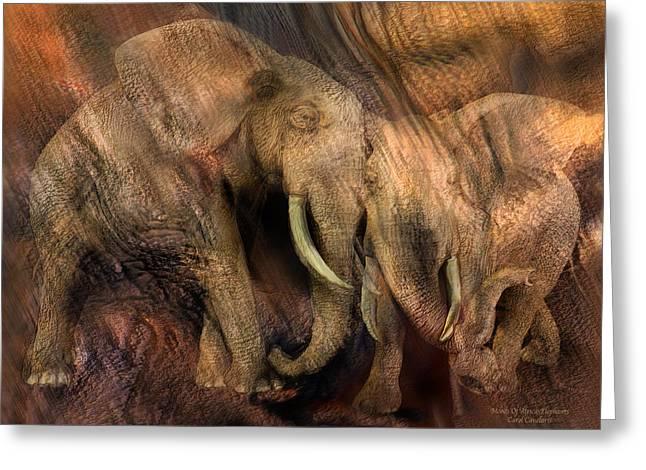 Elephant Greeting Cards - Moods Of Africa - Elephants Greeting Card by Carol Cavalaris