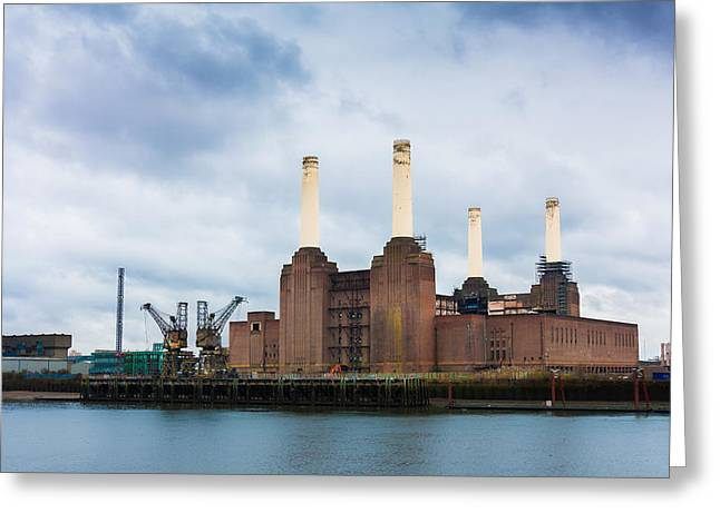 Grey Clouds Greeting Cards - Moody Battersea Power Station Greeting Card by Semmick Photo