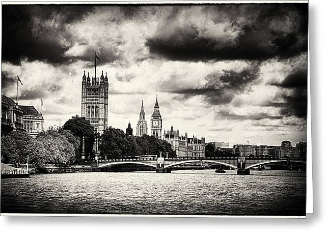 Carter House Greeting Cards - Moody Big Ben London  Greeting Card by Lenny Carter