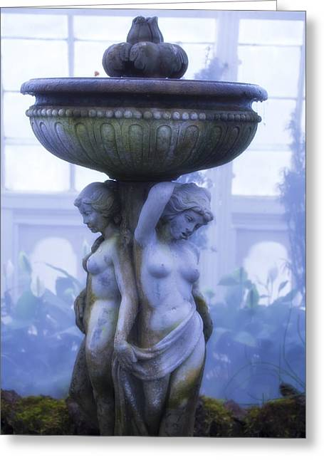 Conservatory Garden Greeting Cards - Moody Blue Statue Greeting Card by Garry Gay