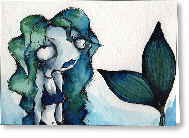 Blue Green Water Drawings Greeting Cards - Moody Blues Greeting Card by Darnel Tasker