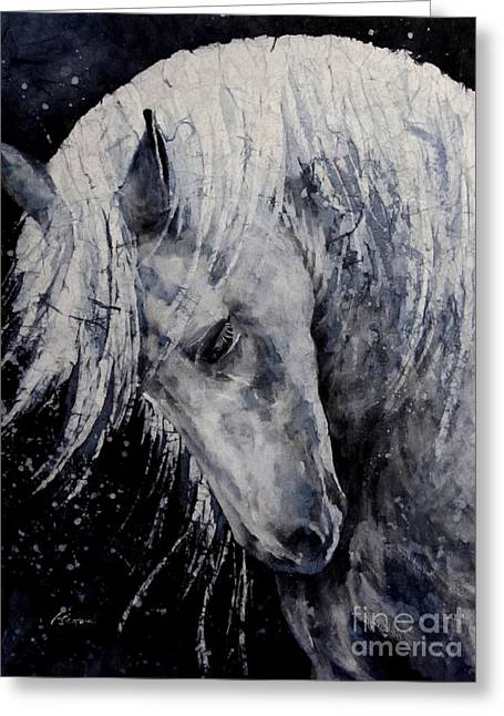 Contemporary Horse Greeting Cards - Moody Blues Greeting Card by Hailey E Herrera