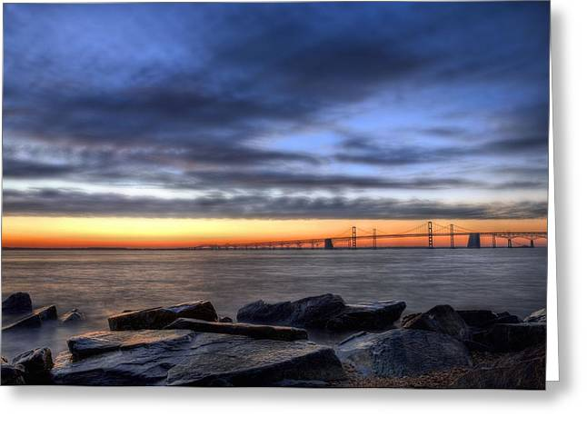 Chesapeake Bay Bridge Greeting Cards - Moody Blues Greeting Card by JC Findley
