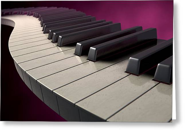 Abstract Artist Greeting Cards - Moody Curvy Piano Keys Greeting Card by Allan Swart