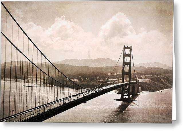 Outlook Greeting Cards - Moody Day Golden Gate Greeting Card by Jacque The Muse