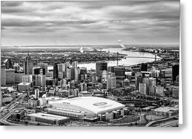 Moody Detroit Greeting Card by Cindy Lindow