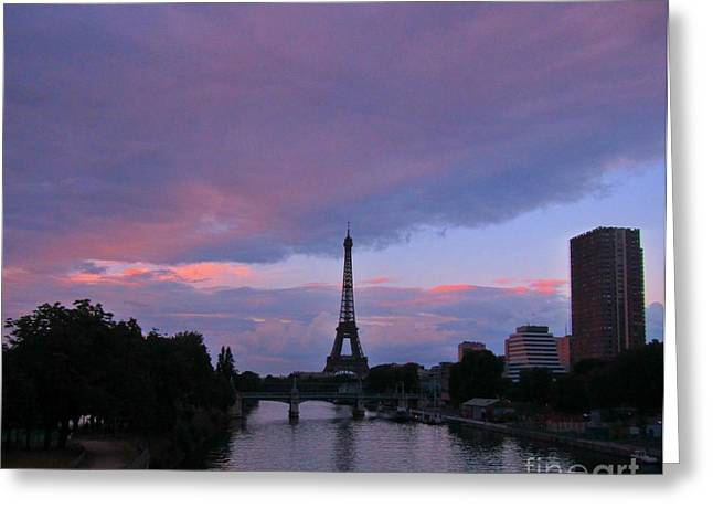 Sunset Posters Greeting Cards - Moody Eiffel Tower Greeting Card by John Malone