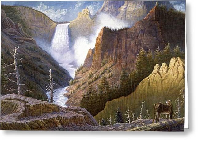 Western Art Digital Art Greeting Cards - Moody Falls  Greeting Card by Gregory Perillo