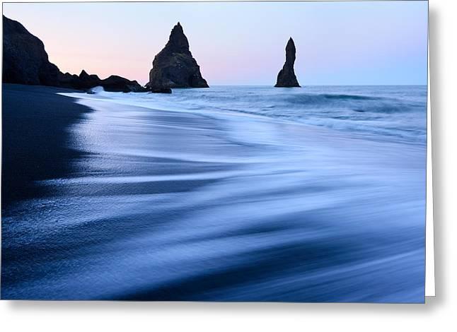 Cliffs Over Ocean Greeting Cards - Moody Iceland seascape with Reynisdrangar rocks Greeting Card by Yevgen Timashov