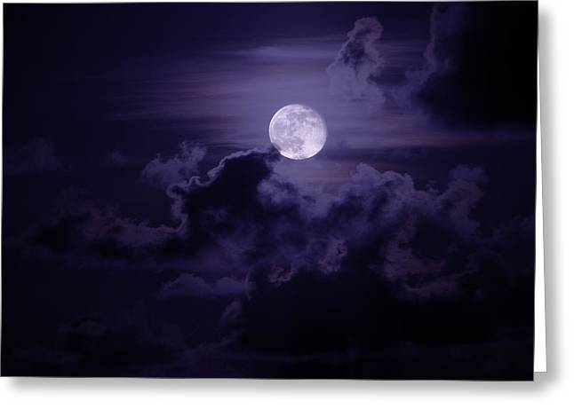 Mood Greeting Cards - Moody Moon Greeting Card by Chad Dutson