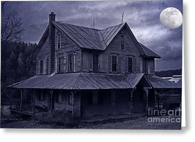 Broken Shutters Greeting Cards - Moody Moonlit Mansion Greeting Card by John Stephens