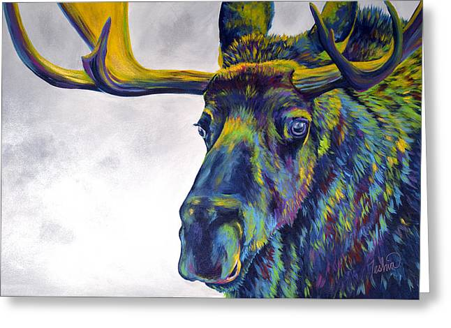Most Popular Paintings Greeting Cards - Moody Moose Greeting Card by Teshia Art