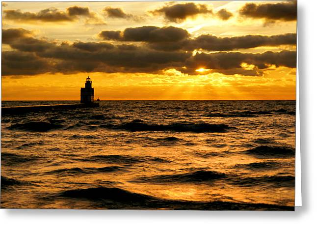 Surf Silhouette Greeting Cards - Moody Morning Greeting Card by Bill Pevlor