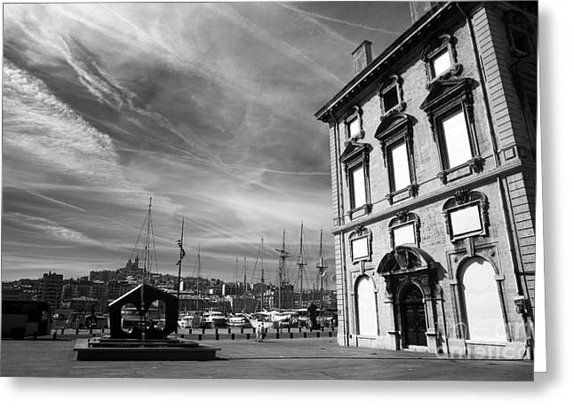 Moody Posters Greeting Cards - Moody Port Greeting Card by John Rizzuto