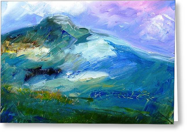 Forty Paintings Greeting Cards - Moody Sky over Eagle Hill in Spring  Greeting Card by Trudi Doyle