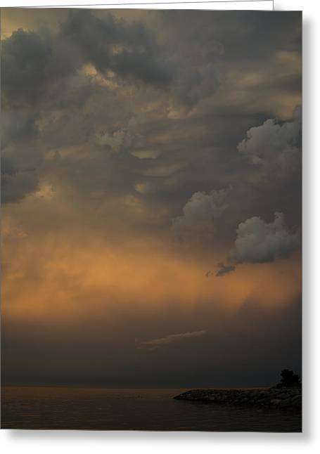Summer Storm Greeting Cards - Moody Storm Sky Over Lake Ontario in Toronto Greeting Card by Georgia Mizuleva