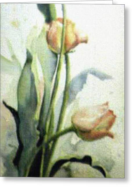 Foggy Day Greeting Cards - Moody Tulips Greeting Card by Hanne Lore Koehler