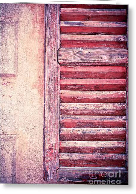 Weathered Shutters Greeting Cards - Moody weathered shutter Greeting Card by Silvia Ganora