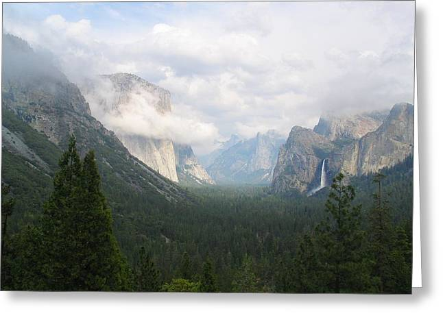 Veiled Greeting Cards - Moody Yosemite Greeting Card by Stu Shepherd