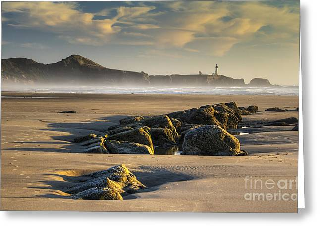 Oregon Lighthouse Image Greeting Cards - Moolack and Yaquina Greeting Card by Mark Kiver