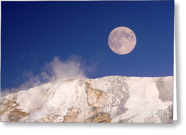 Mammoth Terrace Greeting Cards - Moon & Yellowstone Greeting Card by Mark Newman