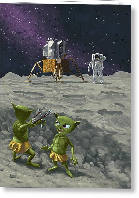 Kids Room Art Greeting Cards - Moon Alien Kids Catapult Firing Game With Astronauts Greeting Card by Martin Davey