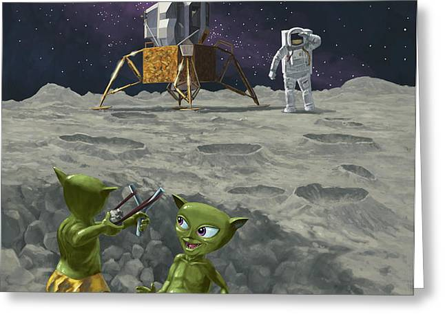 moon alien kids catapult firing game with astronauts Greeting Card by Martin Davey