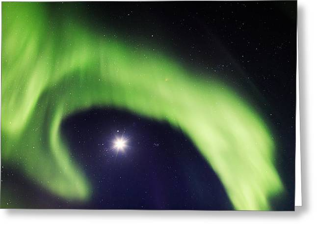 Color Green Greeting Cards - Moon And Aurora Borealis Or Northern Greeting Card by Panoramic Images