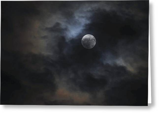 Moon Rise Greeting Cards - Moon and Clouds Greeting Card by Terry DeLuco