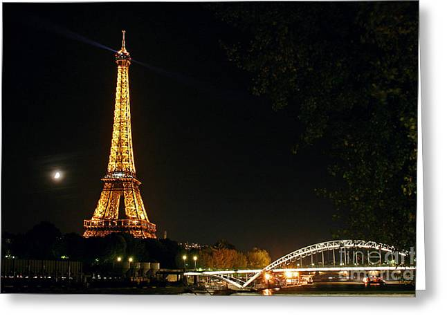 Paris At Night Greeting Cards - Moon And Eiffel Tower Greeting Card by Babak Tafreshi