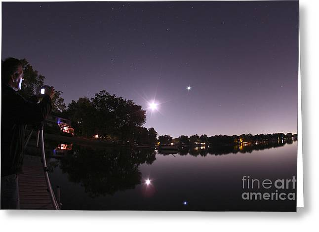 Taking Photographs Greeting Cards - Moon And Jupiter Over Lake Greeting Card by John Chumack