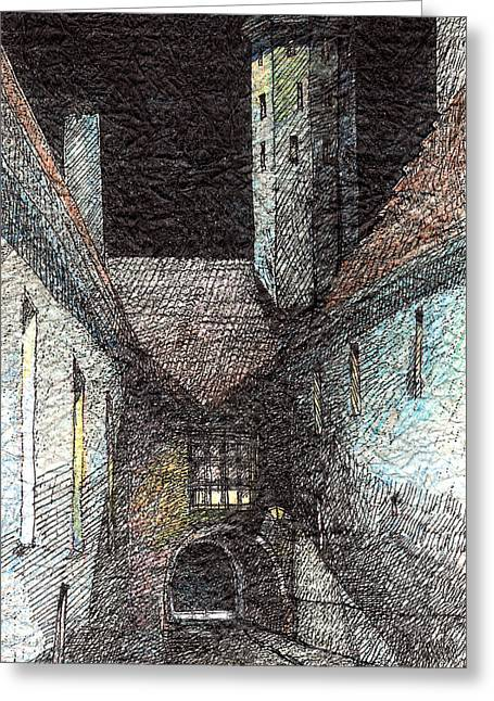 Tallinn Drawings Greeting Cards - Moon and Light Greeting Card by Serge Yudin