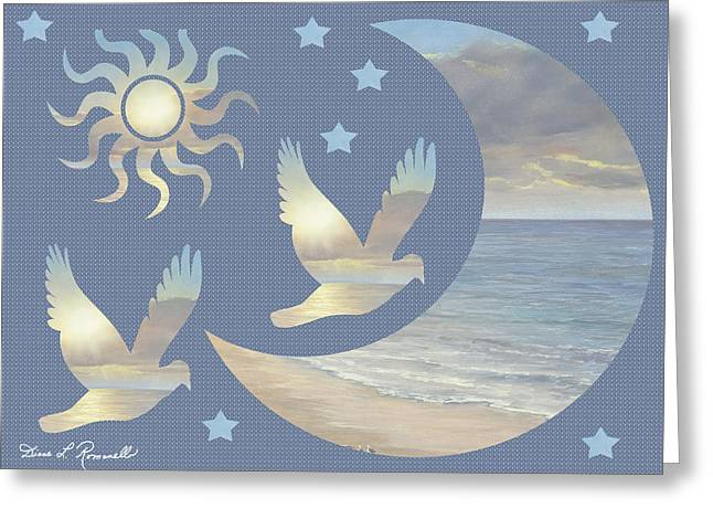 Ethereal Beach Scene Greeting Cards - Moon And Stars Greeting Card by Diane Romanello