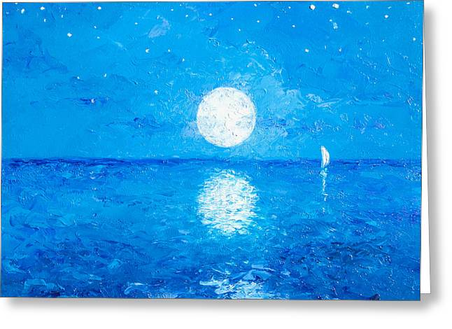 Ocean Scenes Greeting Cards - Moon and Stars Greeting Card by Jan Matson