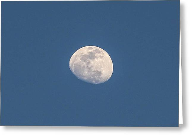 Man In The Moon Greeting Cards - Moon and the Deep Blue Greeting Card by Renny Spencer