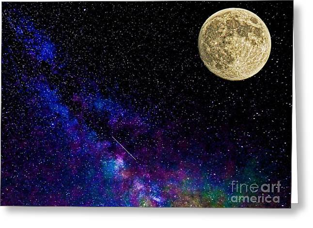 Man In The Moon Greeting Cards - Moon and the Milkyway Compilation Photo Greeting Card by Robert Neiszer