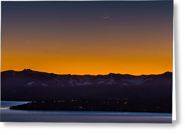 Incline Greeting Cards - Moon and Venus Above Lake Tahoe Greeting Card by Marc Crumpler