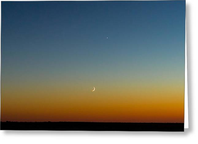 Waning Moon Greeting Cards - Moon and Venus I Greeting Card by Marco Oliveira
