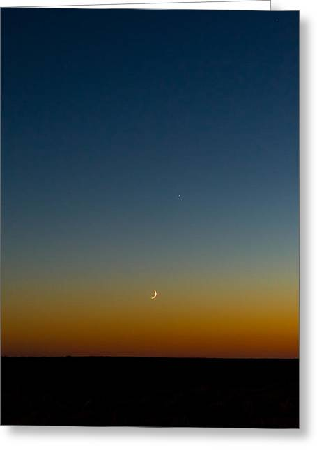 Waning Moon Greeting Cards - Moon and Venus II Greeting Card by Marco Oliveira