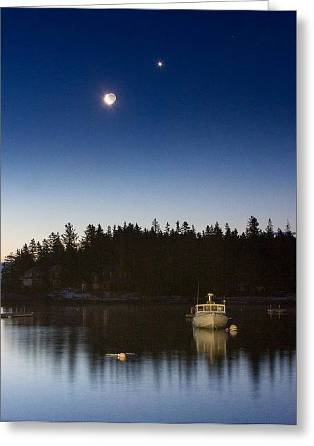 Mid-coast Maine Greeting Cards - Moon and Venus over Five Islands Greeting Card by Benjamin Williamson