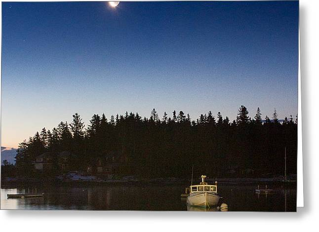 Moon and Venus over Five Islands Greeting Card by Benjamin Williamson