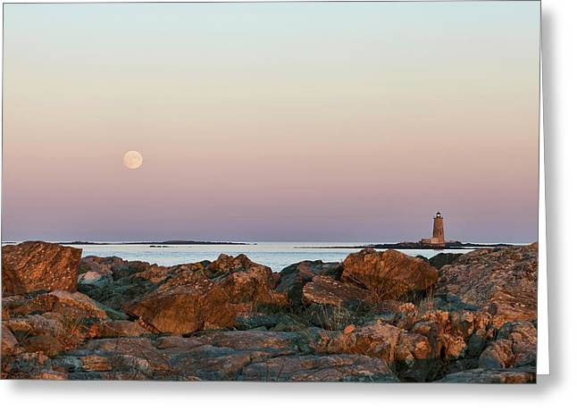 Moonlit Night Greeting Cards - Moon and Whaleback Greeting Card by Eric Gendron