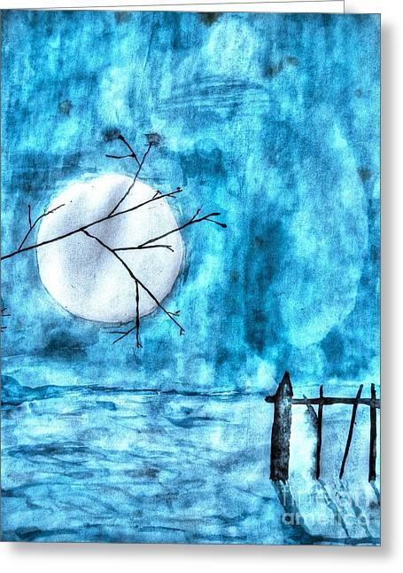 Paradise Pyrography Greeting Cards - Moon And Winter Greeting Card by Yury Bashkin