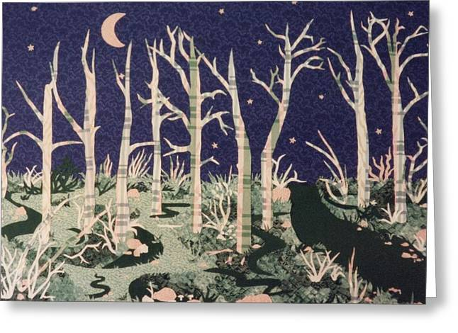 Path Tapestries - Textiles Greeting Cards - Moon at Night Greeting Card by Lisa Bates