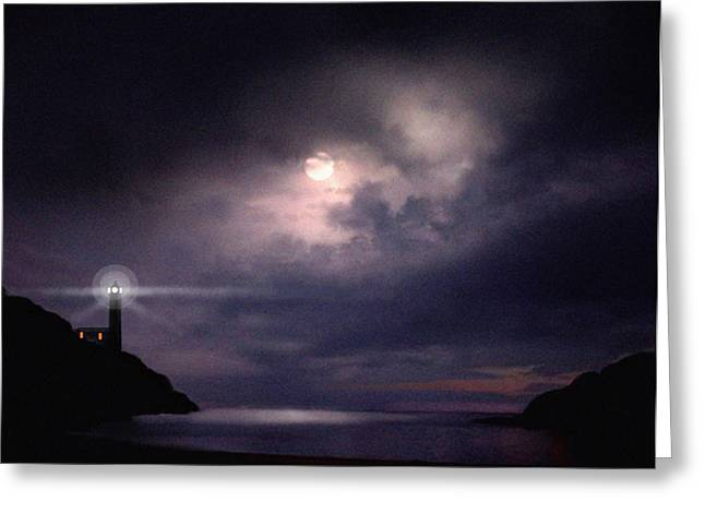 Storm Prints Digital Art Greeting Cards - Moon Bay Greeting Card by Robert Foster